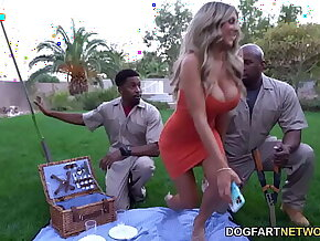 Busty Cougar Kayla Kayden's Picnic Turns Double Penetration With Gardeners' BBC